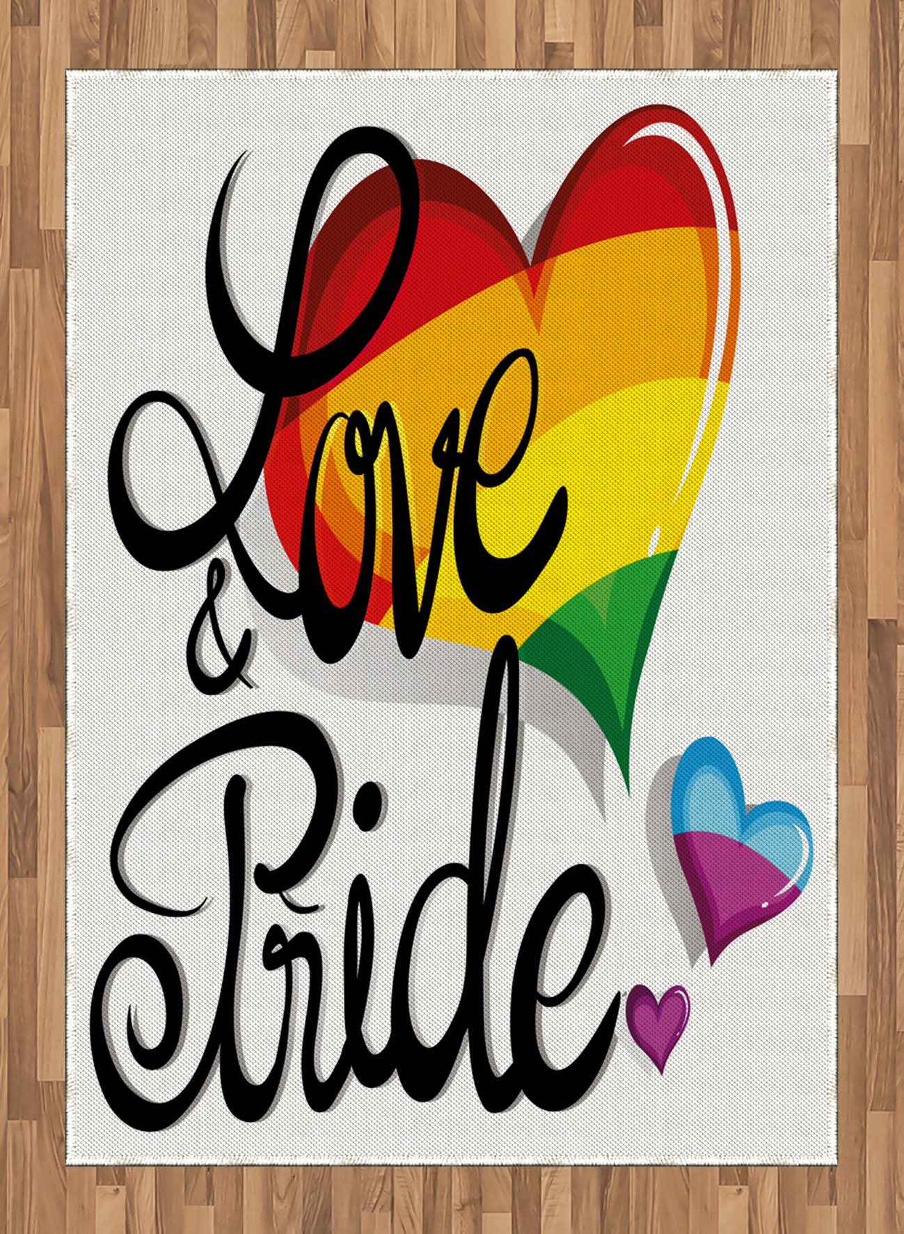 Pride Area Rug by Ambesonne, Vibrant Big and Little Hearts Gay Lesbian Transsexual Romantic Design Love and Pride, Flat Woven Accent Rug for Living Room Bedroom Dining Room, 5.2 x 7.5 FT, Multicolor