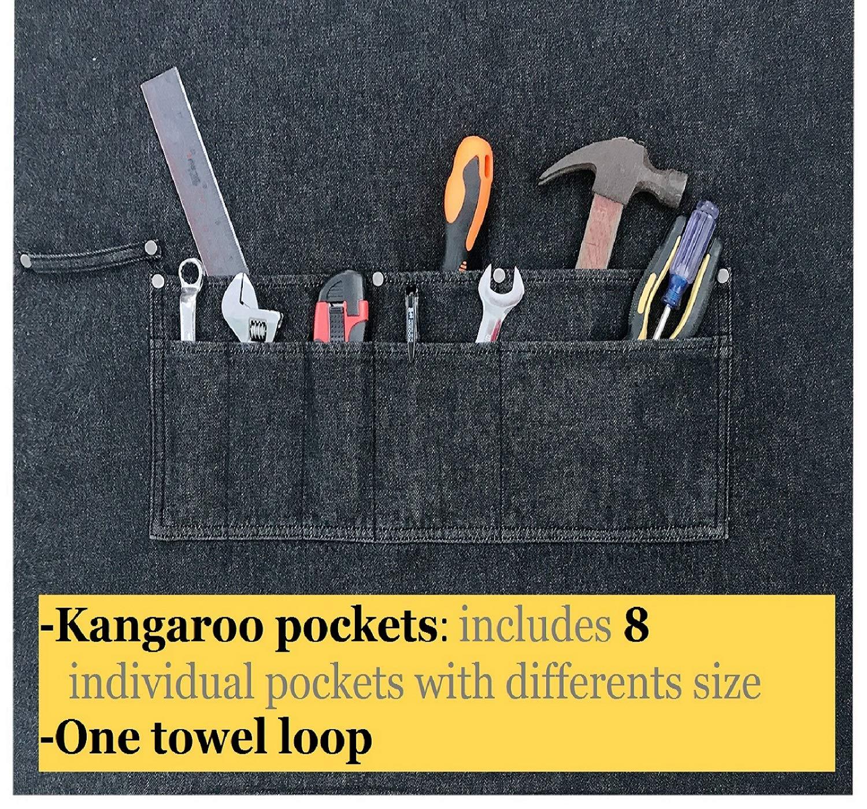 Heavy Duty Denim Jean Shop Work Apron Woodworking Aprons - 10 Tool Pockets | Towel Loop | Cross-back, Adjustable Unisex Utility Bib Apron Fits Men Women, M-XXL by Duo Bao Yu (Image #4)