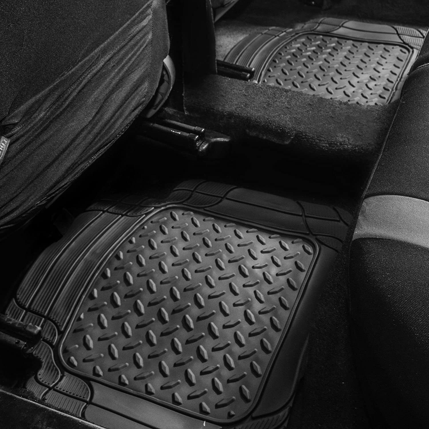 Burgundy FH Group F11311 Premium Tall Trimmable Channel Rubber Floor Mats Universal Fit for Cars Trucks and SUVs Full Set with Gift