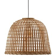 Stone & Beam Modern Round Rattan Ceiling Pendant Chandelier with Light Bulb - 15.75 x 16.75 12.6 Inches, 85.6 Inch Cord, Natural