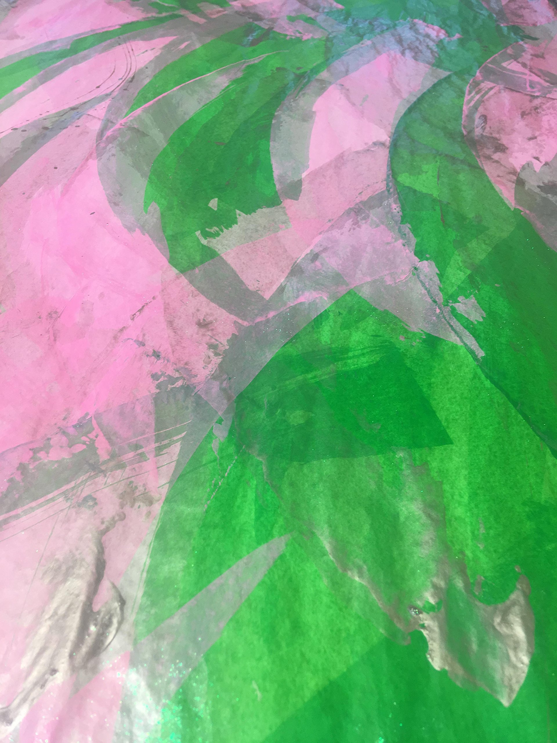 PINK/GREEN/GOLD PAINTED PAPERS 1 sheet 26''X 60'' by PAINTED PAPERS Hand Painted Gift Wrap/Design Papers-Made in the USA