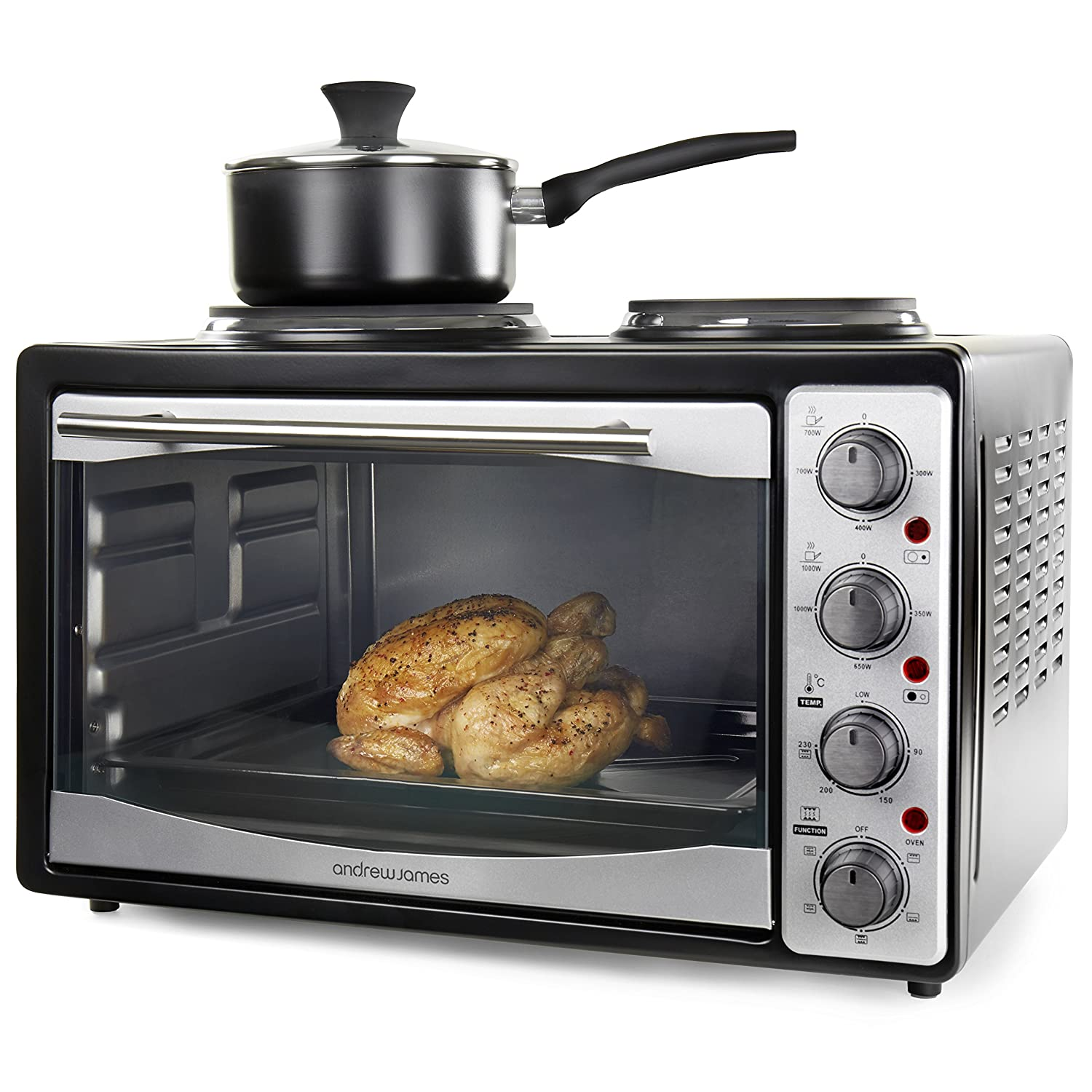 Andrew james 33l black mini oven with electric grill and double andrew james 33l black mini oven with electric grill and double hotplate fast heating 5 cooking functions toaster ovens roasting baking grilling publicscrutiny Images