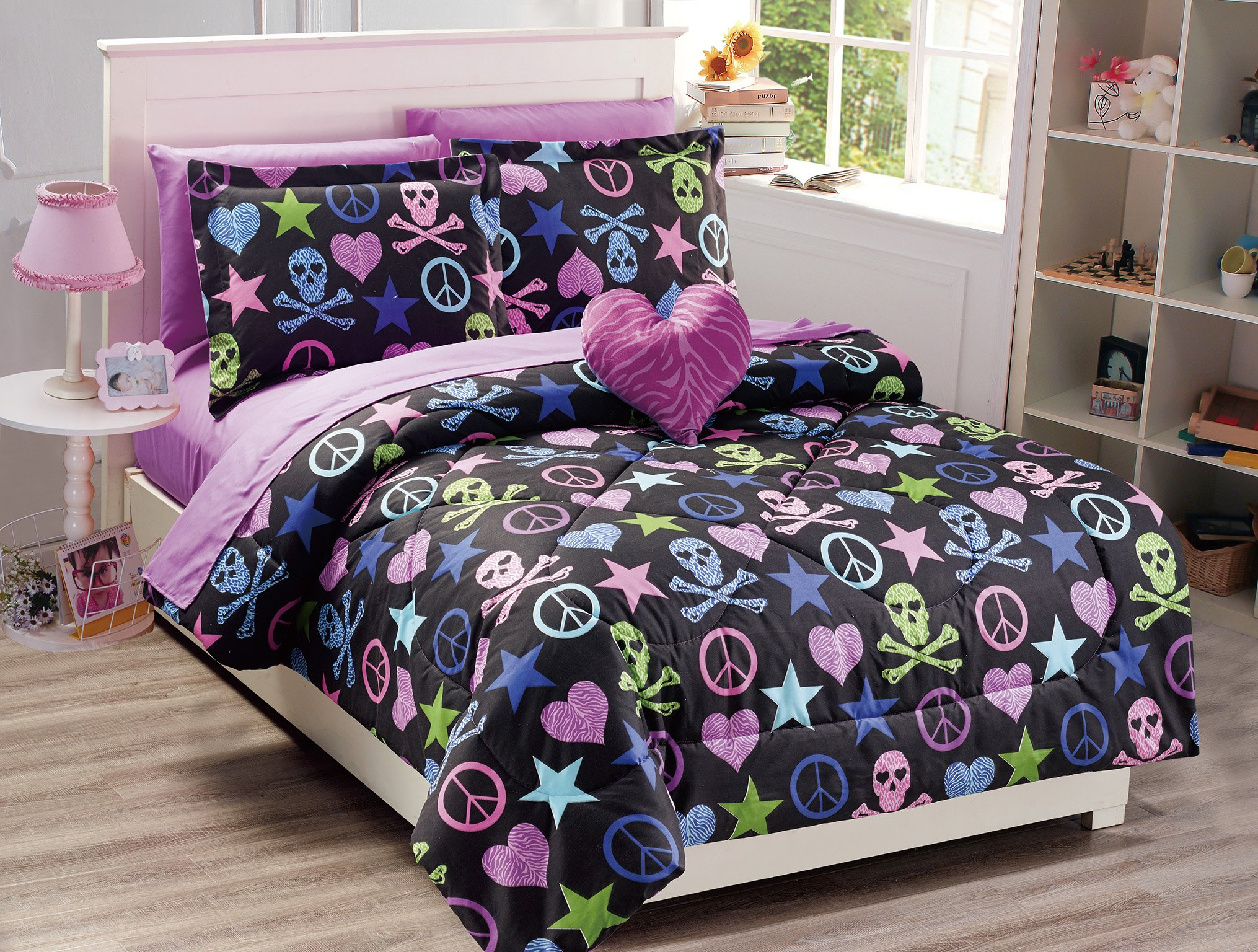 Mk Collection Kids/Teens 8 PC Full Size Peace Signs Hearts Skulls Zebra Print Stars Black Pink Blue Green Purple Comforter And Sheet Set With Furry Buddy Included New