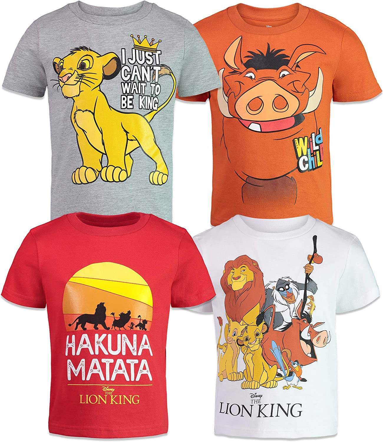 Disney Boys 4 Pack T-Shirts Toy Story  Mickey Mouse  Lion King