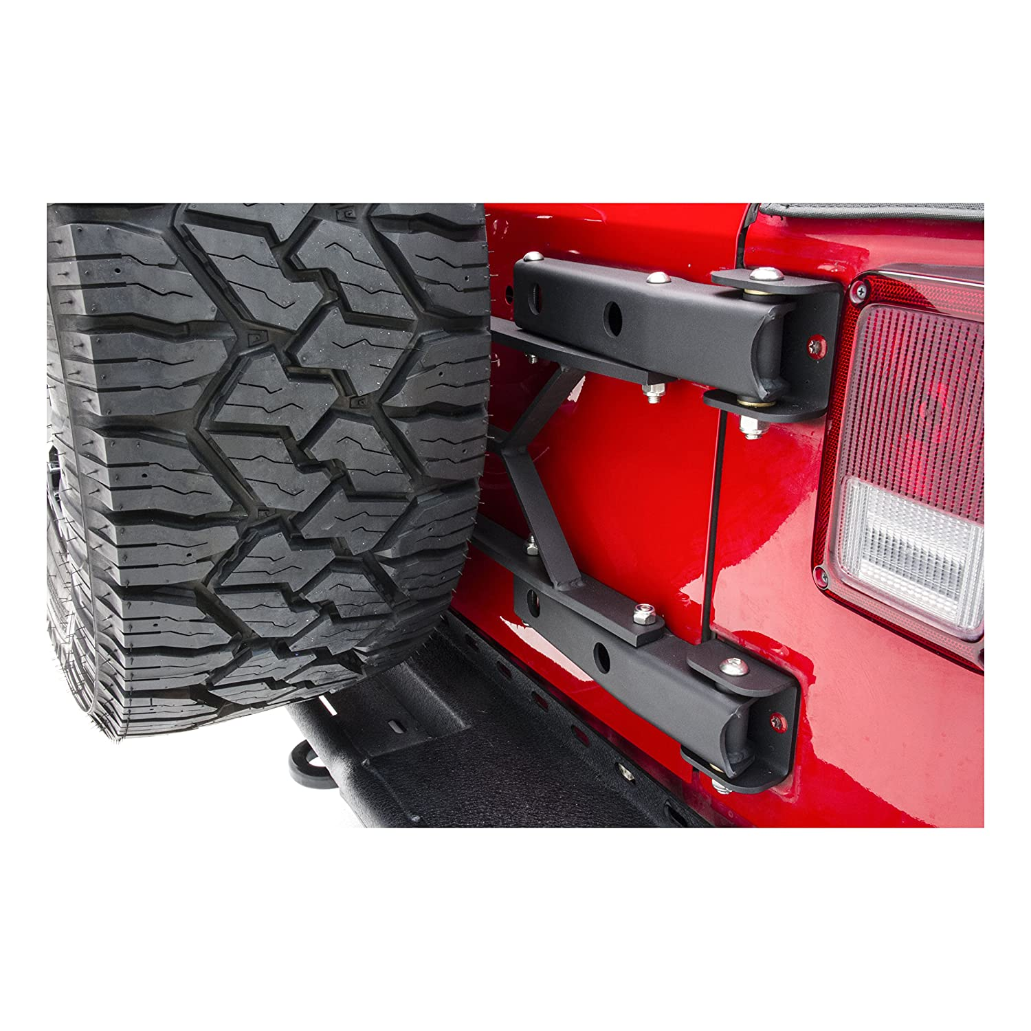 ARIES 2563000 Jeep Wrangler JK Heavy-Duty Adjustable Rear Door Spare Tire Carrier for Up to 37-Inch Wheels