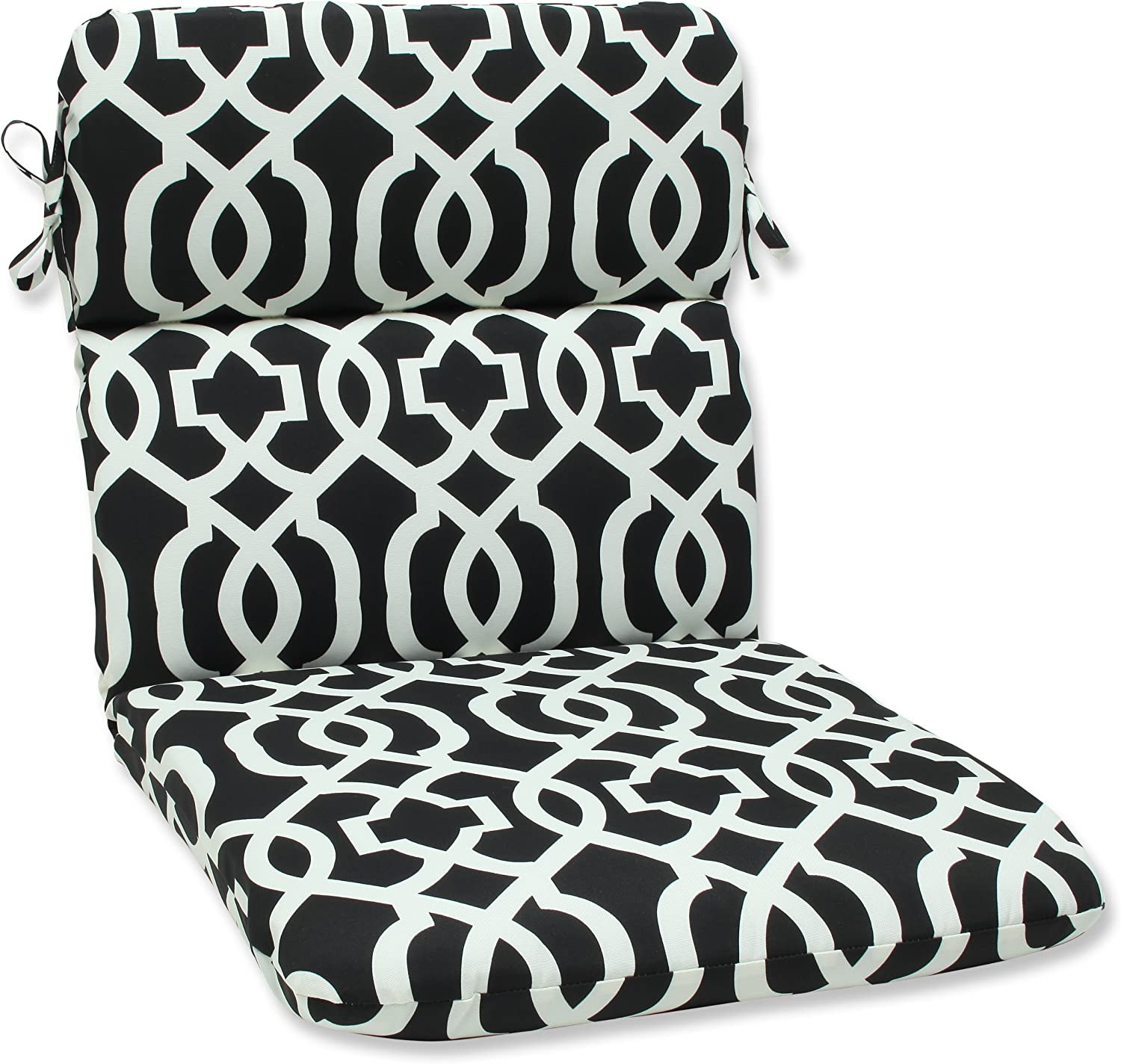 Pillow Perfect Outdoor New Geo Rounded Corners Chair Cushion, Black White