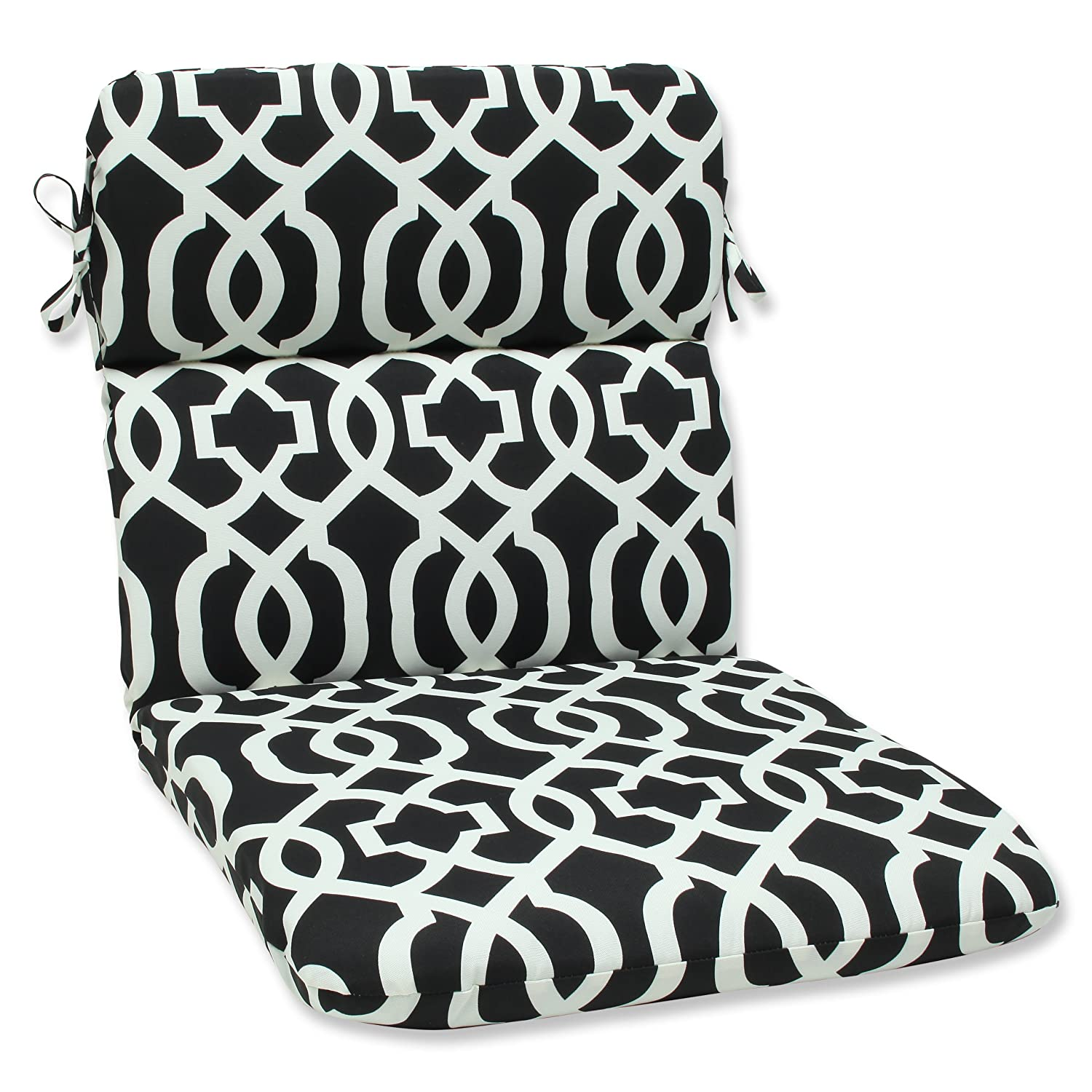 amazoncom pillow perfect outdoor new geo rounded corners chair cushion blackwhite home u0026 kitchen
