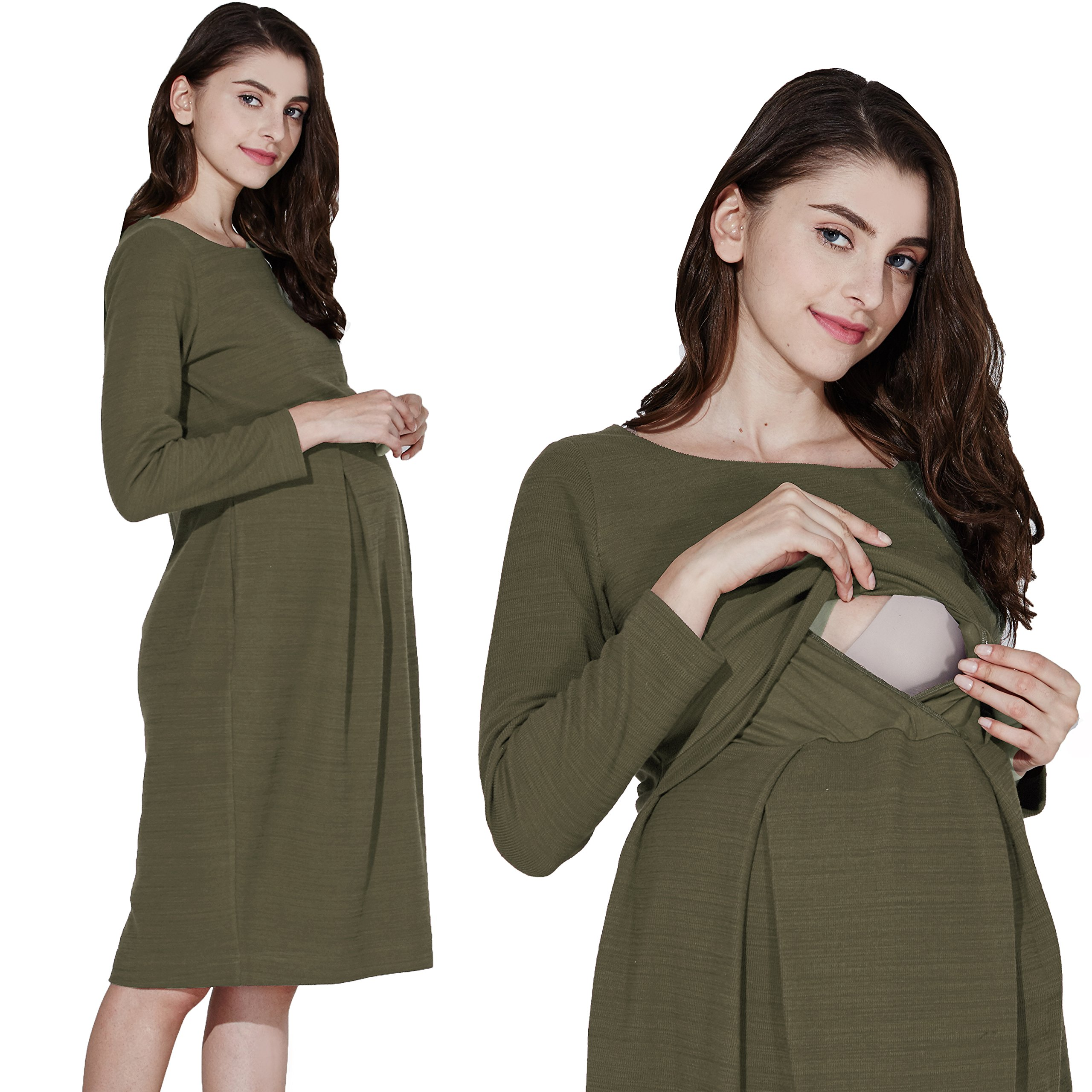 Sweet Mommy Maternity and Nursing Boat Neck Knee Length Tuck Dress Khaki, L