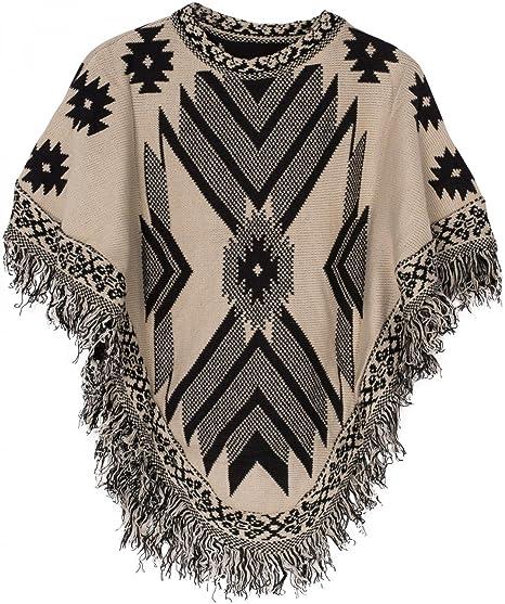 0659b1c42 styleBREAKER Aztec Style Knitted Poncho, Inka Pattern, Fringed,  Round-Necked, fine Knit, Ladies 08010011, Color:Beige-Black: Amazon.co.uk:  Clothing