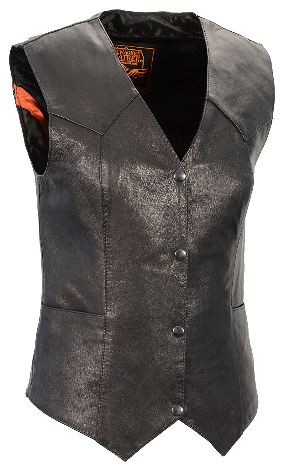 Milwaukee Leather Women's Classic Four Snap Vest (Black, X-Large) Leather King Milwaukee Leather Women' s Classic Four Snap Vest (Black SH1227-XL-BLACK