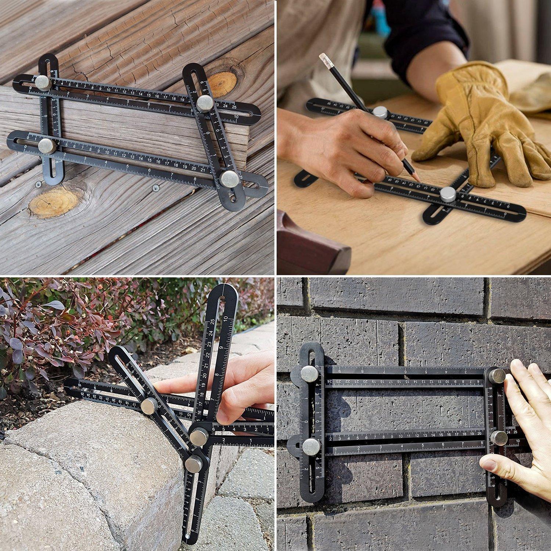 Multi-angle Instrument de Mesure en Acier Inoxydable pour les Constructeurs de Bricolage et Artisans par WOWGO Outil de Mod/èle Calibreur dAngle-izer R/ègle de lAlliage dAluminium