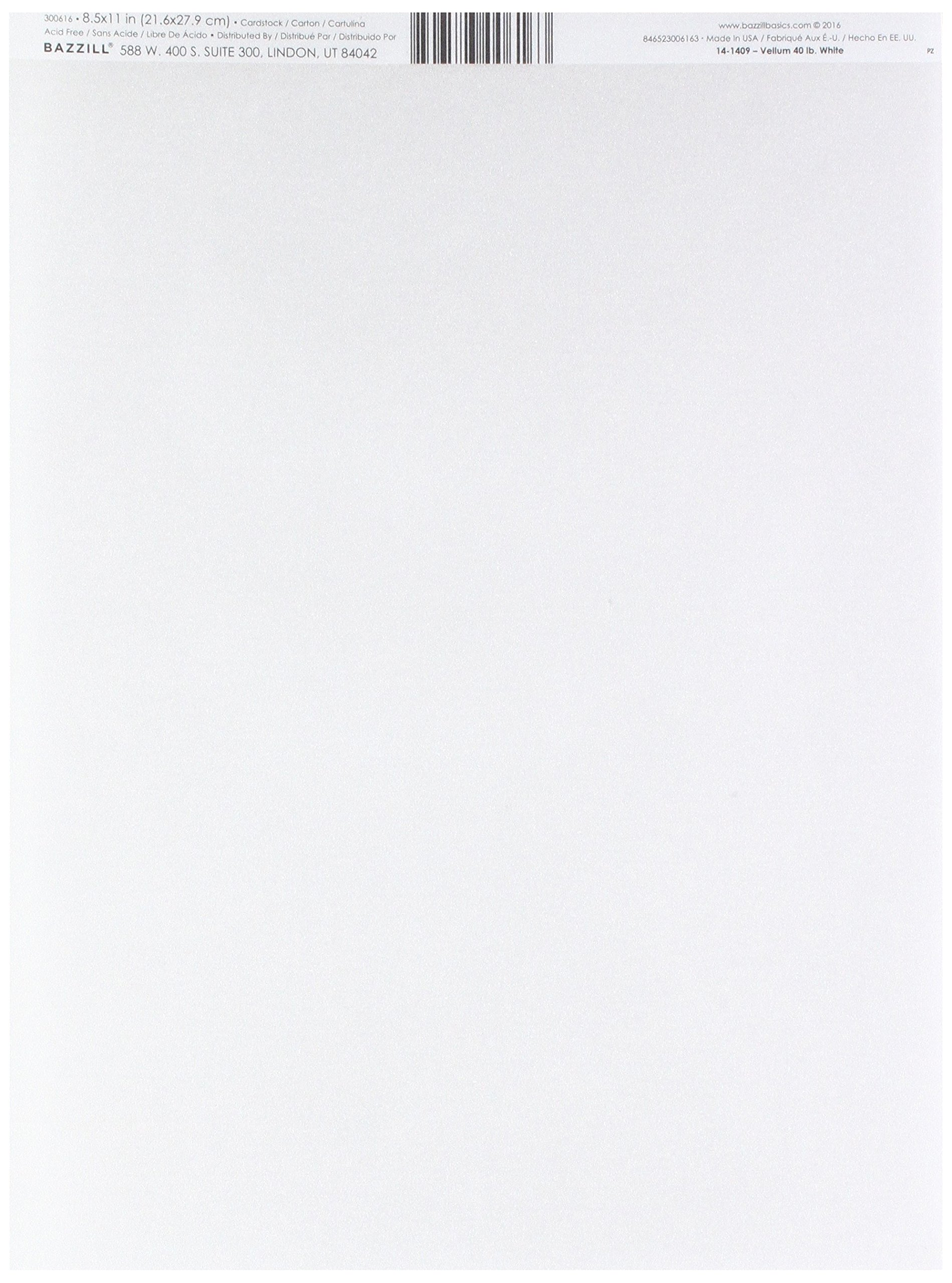 Bazzill Basics Paper 25 8.5 x 11 Inch White 40 lb Bazzill Basics Vellum Sheets Piece