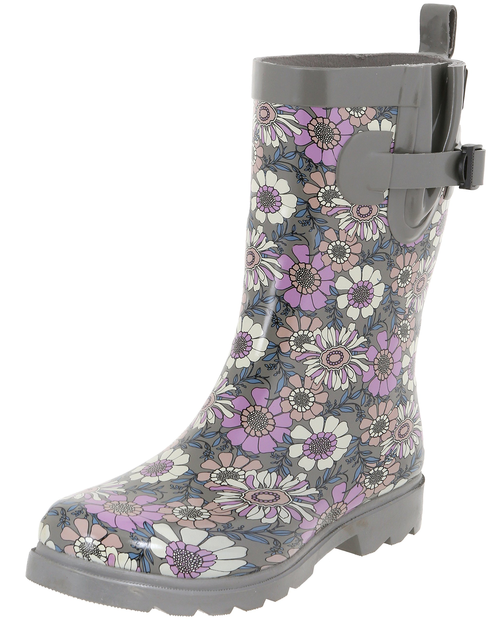 Capelli New York Ladies Dark Floral Printed Rain Boots Grey Combo 9