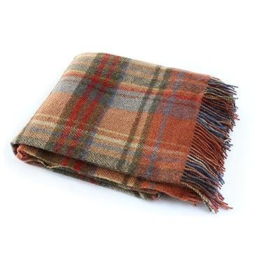 Biddy Murphy Tartan Plaid Throw Blanket 100% Wool Soft 54  Wide x 72  Long Fringed Orange Plaid Made in Ireland