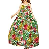 Women Casual Loose Bohemian Floral Print Dresses Spaghetti Strap Long Maxi Summer Beach Swing Dress XS-5X E75