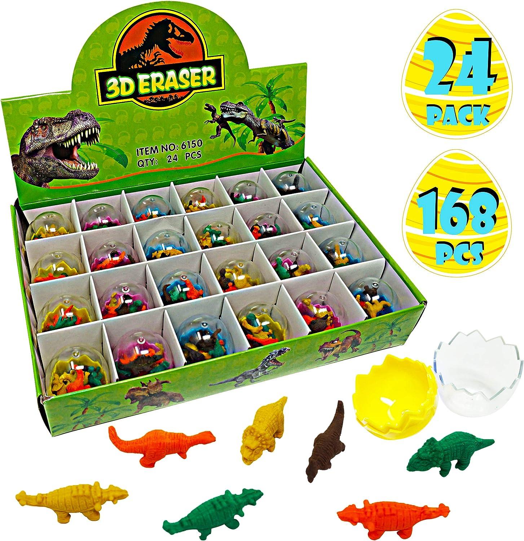 FiGoal Paquet de 24 /œufs de P/âques avec 168 gommes /à effacer de dinosaures pr/éremplies