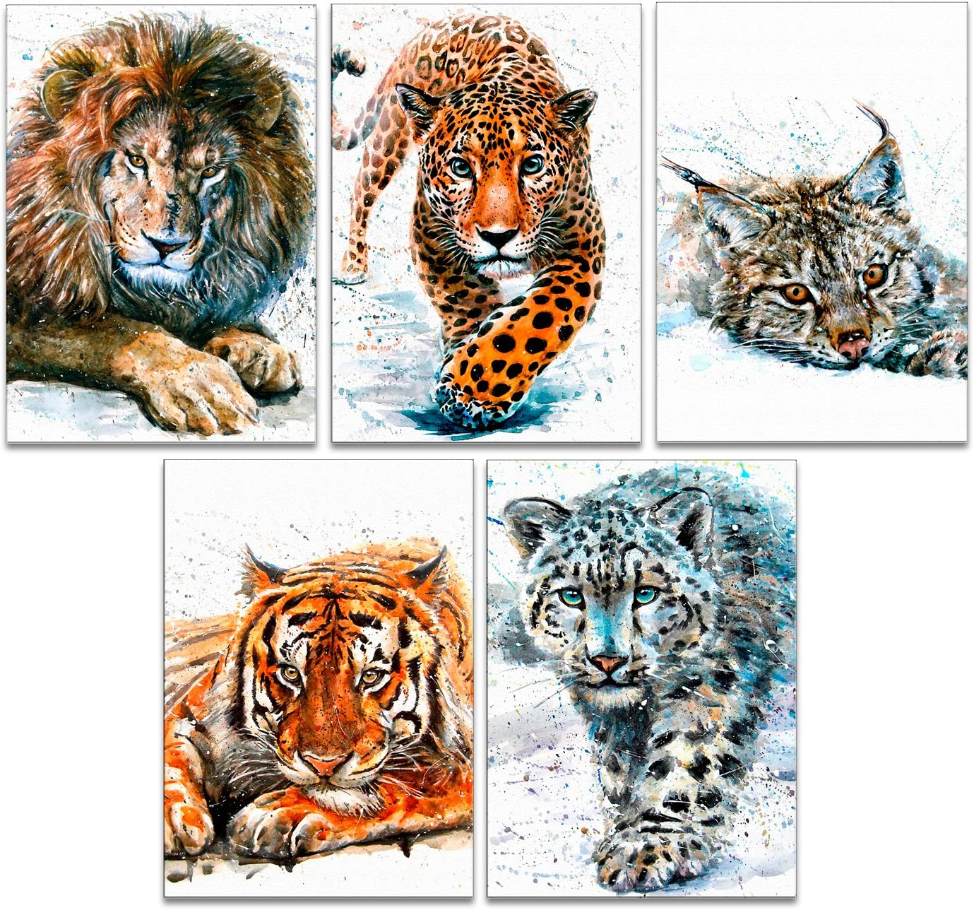 "7Dots Art. Set of 5 Art Prints. Cats. Watercolor Art Print, poster 8""x12"" (A4) on Fine Art thick Watercolor paper for living room, bedroom, bathroom, kid's room. Wall art decor with Animals. (Set)"