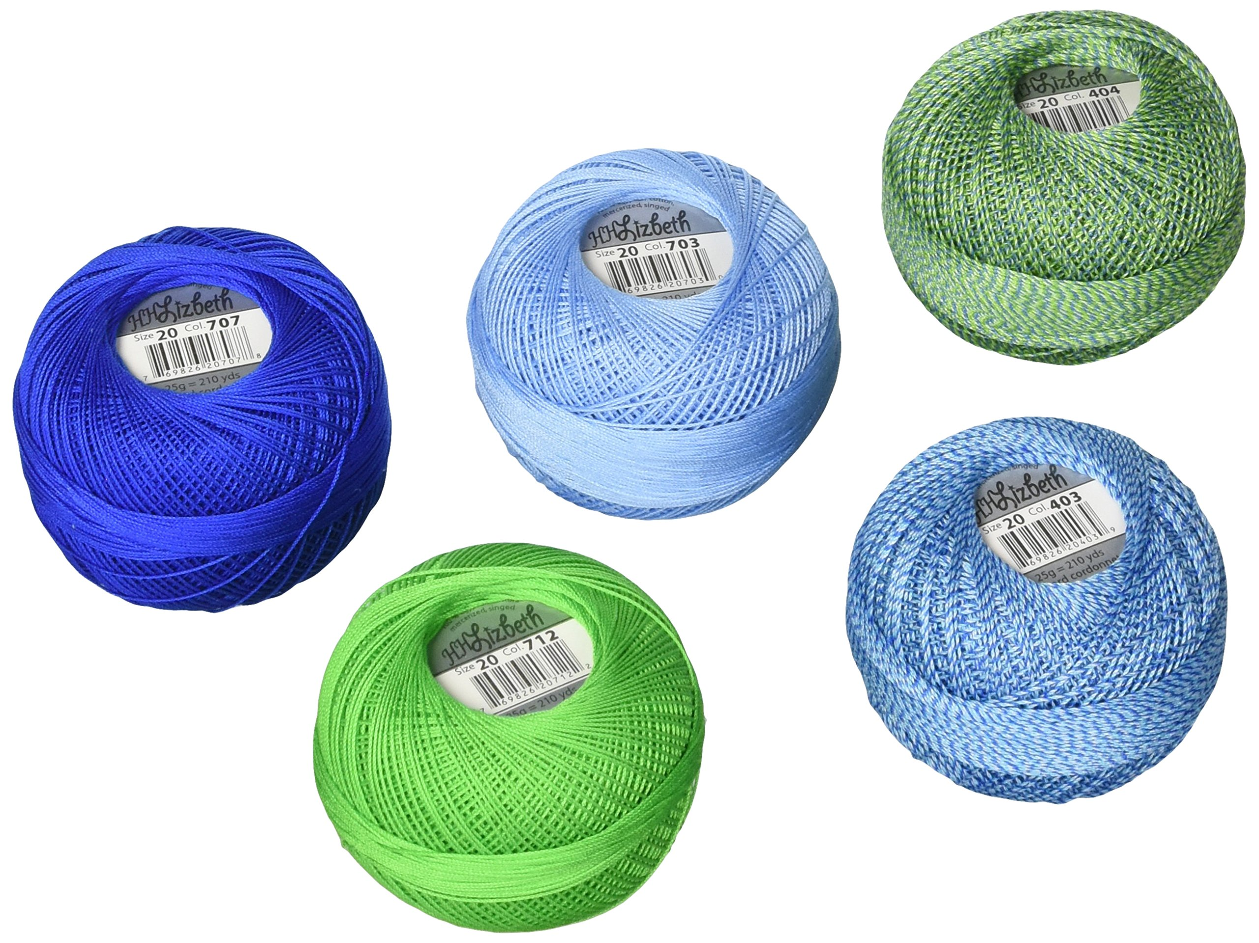 Handy Hands DPN-7221 Lizbeth Specialty Pack Cordonnet Cotton (5 Pack), Size 20, Lagoon Mix, Multicolor by Handy Hands (Image #1)