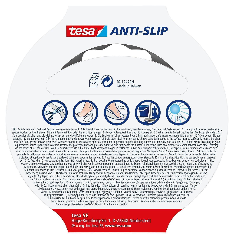 transparente Cinta Tesa/® Antideslizante ba/ño y ducha