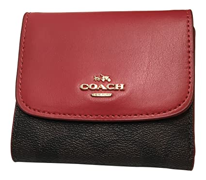 quality design 07029 cad9a Coach Signature PVC Small Wallet Brown True Red F87589