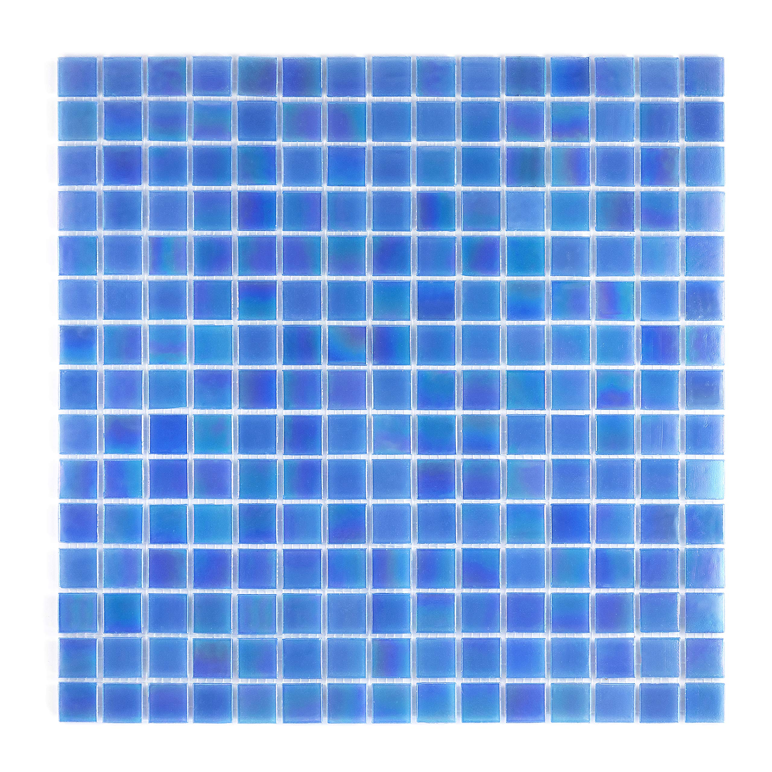 URBN Contemporary Ocean Blue Iridescent Glass Mosaic Tile for Kitchen and Bath - One Box of 20 Sheets (23 SQ FT) by URBN.tiles