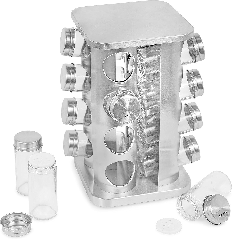 Internet's Best Revolving Spice Tower - Square Spice Rack - Set of 16 Spice Jars - Seasoning Storage Organization - Stainless Steel