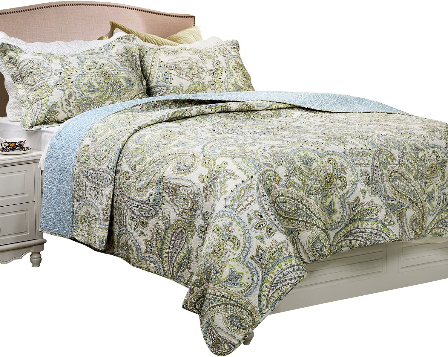 Brandream Green Paisley Printed Bedding Set Luxury Oversized Queen Quilt Set Soft Cotton Romantic Bedspreads Queen Size Kitchen Dining
