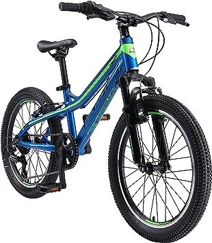 BIKESTAR Bicicleta de montaña de Aluminio Bicicleta Juvenil 20 Pulgadas de 6 a 9 años | Cambio Shimano de 7 velocidades, Freno en V, Horquilla de suspensión | niños Bicicleta Azul Verde: