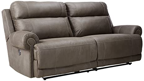 Ashley Furniture Signature Design - Austere Recliner Sofa - 1 Touch Power Reclining Couch - Contemporary  sc 1 st  Amazon.com & Amazon.com: Ashley Furniture Signature Design - Austere Recliner ... islam-shia.org