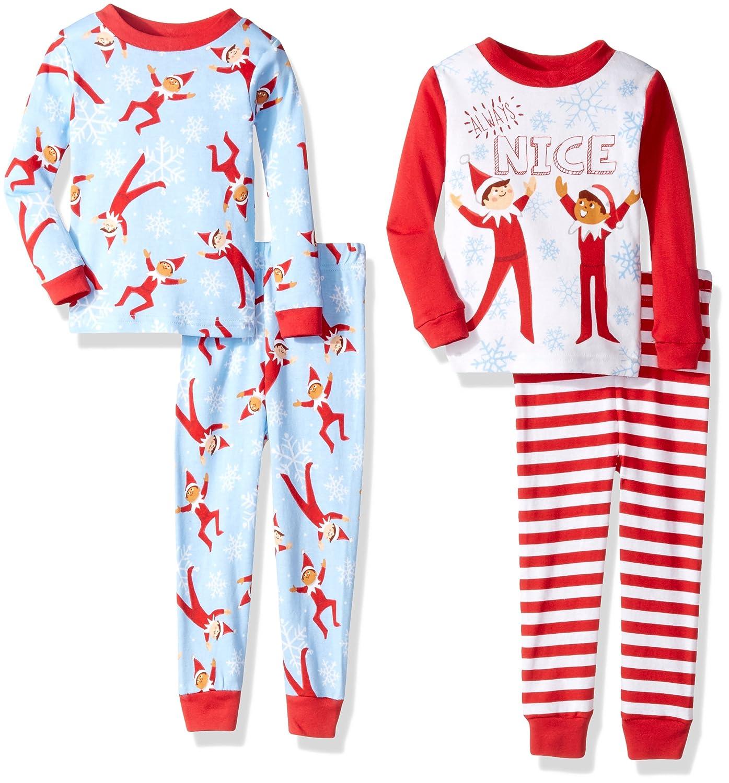 The Elf on the Shelf Boys Elf on The Shelf Little Buddy 4-Piece Cotton Pajama Set Blue 4T AME 21EF093ELLZA-P6-Blue-4T