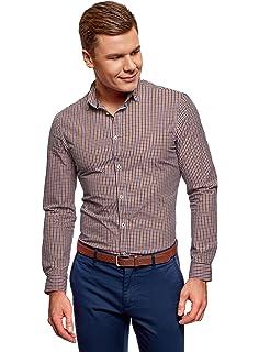 oodji Ultra Hombre Camisa Entallada a Cuadros: Amazon.es: Ropa y accesorios