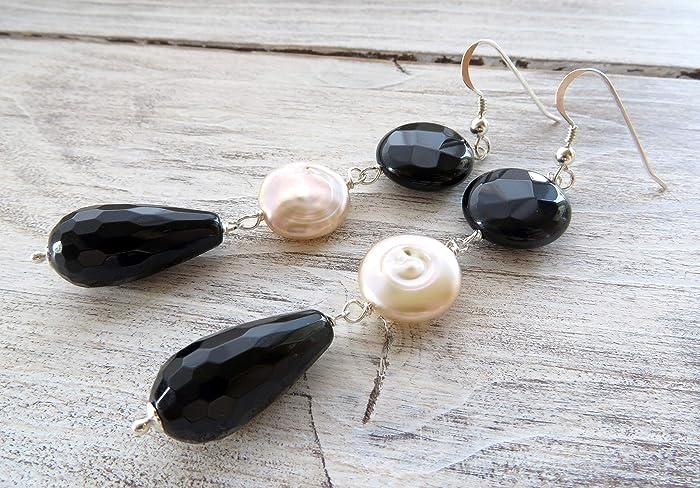 81da0bf1c Black onyx earrings, pink pearl earrings, 925 sterling silver ...
