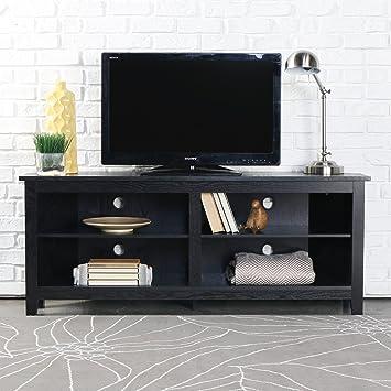 Amazon Com We Furniture 58 Wood Corner Tv Stand Console Black