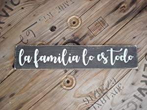 Adonis554Dan Mexican Wood Sign La Familia lo ES todo Spanish Country Home Art for The Hispanic House Latino Wedding Decoration Family is Everything