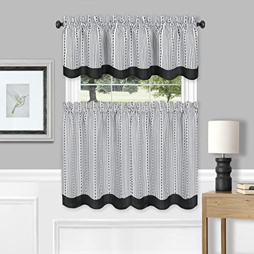 Achim Home Furnishings, Black White Westport Window Curtain Tier Pair and Valance Set, 58 x24