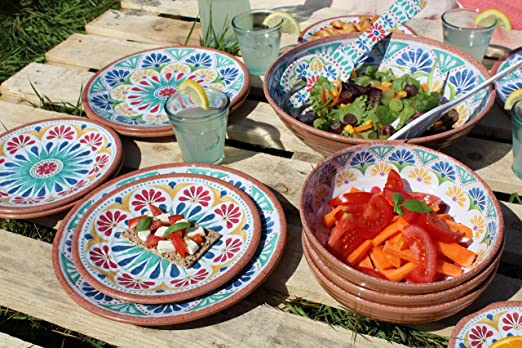 Epicurean Rio Turquoise Floral Melamine//Plastic Bowl  Set for 6