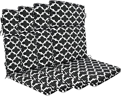 BOSSIMA Indoor Outdoor High Back Chair Cushions Replacement Patio Chair Seat Cushions Set of 4 Black White Flower
