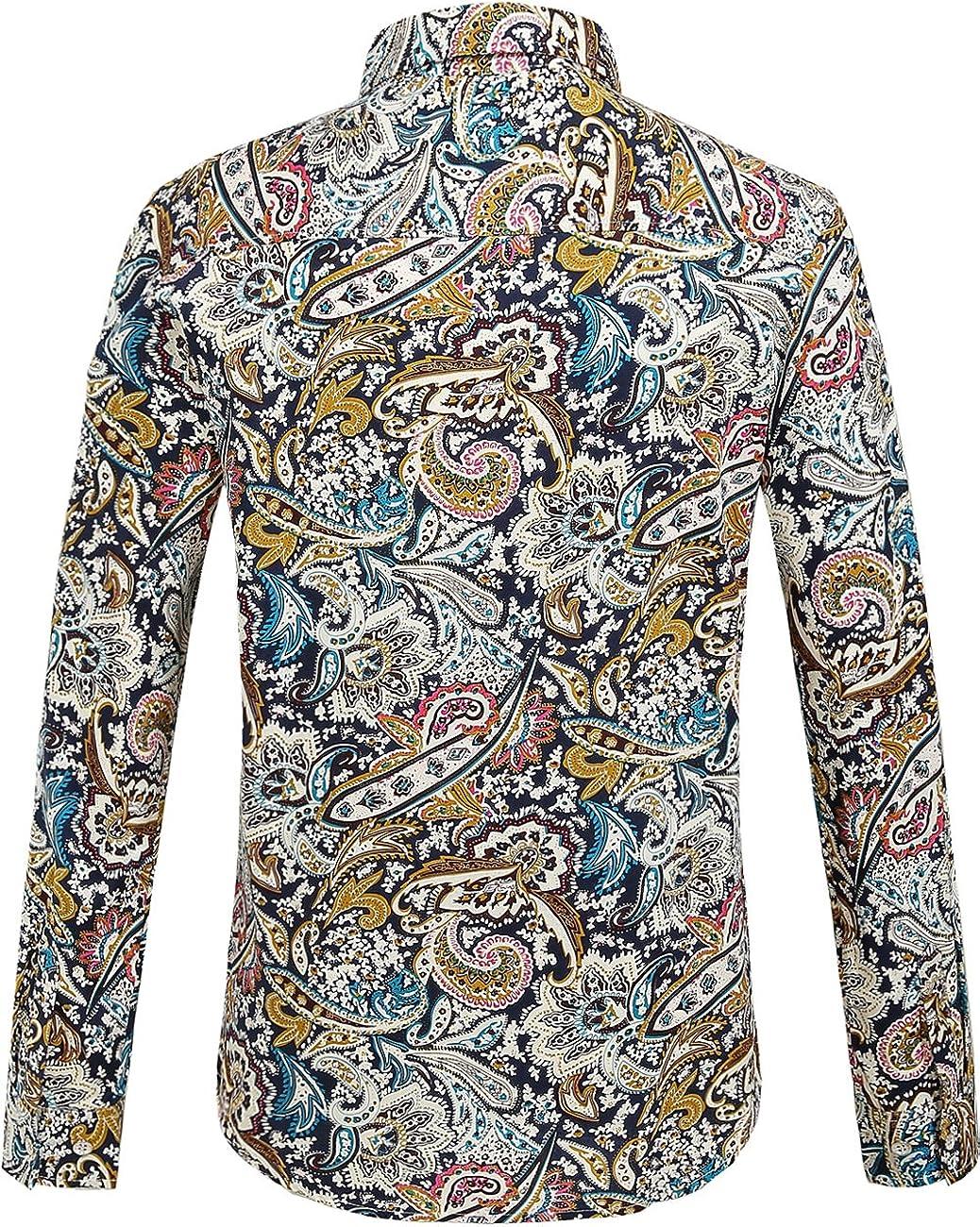 SSLR Camisa Estampado Cachemir Floral Manga Larga de Algod/ón de Hombre