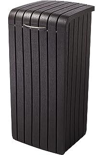 Keter Copenhagen 30 Gallon Wood Style Plastic Trash Bin Can, Brown