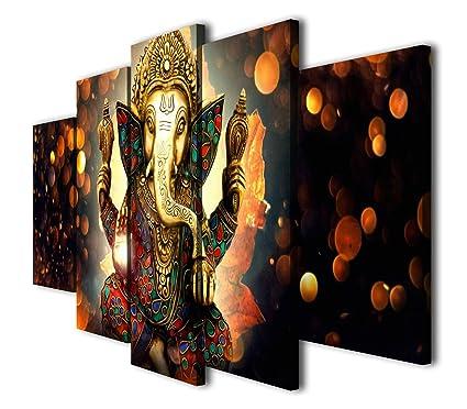Amazon.com: HQ Art 5 Pcs Hindu God Ganesha Painting Printed Canvas ...
