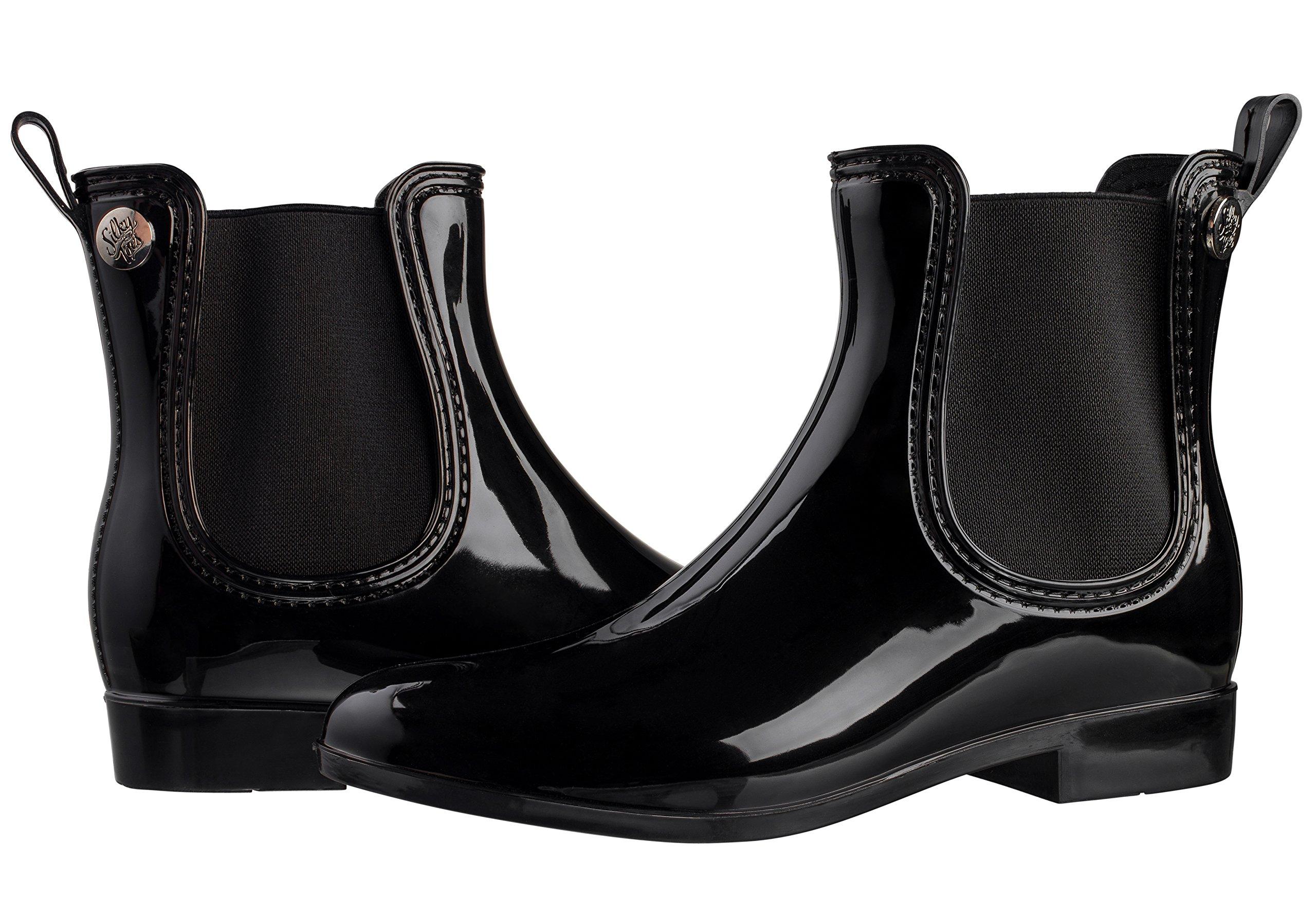 Silky Toes Women's Fashion Elastic Slip On Short Rain Boots (41, Black)