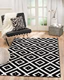 "Summit 046 Black White Diamond Area Rug Modern Abstract Rug Many Sizes Available 2x3 2x7 4x6 5x8 8x10 (4'.10"" x 7'.2"")"