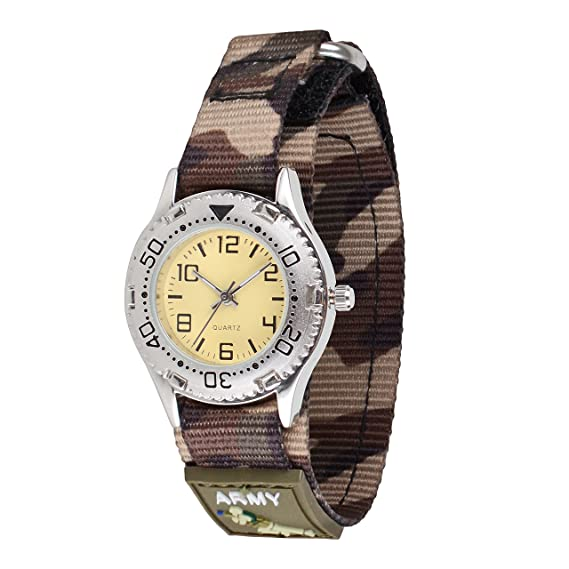 Wolfteeth Jóvenes Caja de Plata Relojes de Pulsera Militar Adolescente Militar Relojes Deportivo Nylon Gancho y Bucle Reloj Correa Camo 309201: Amazon.es: ...
