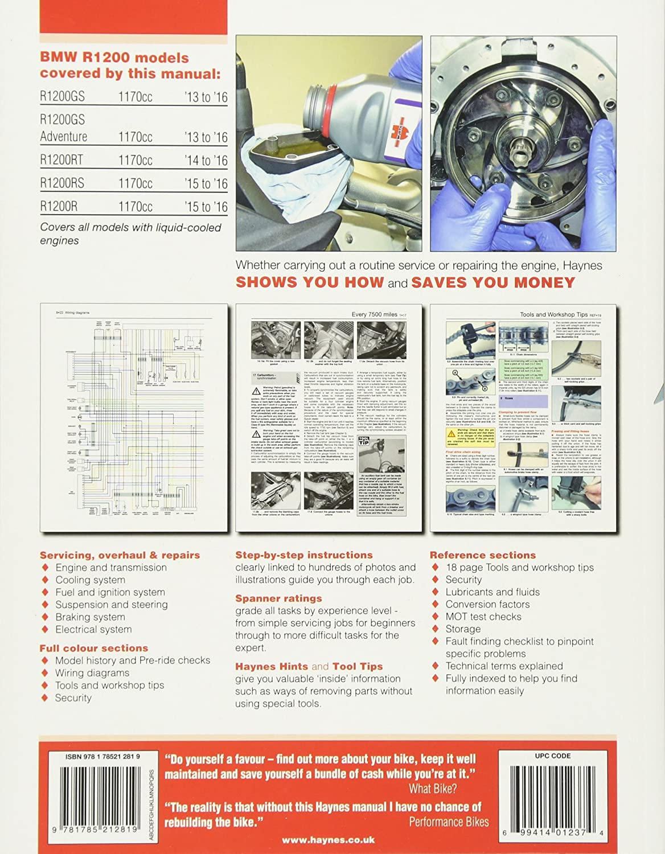 Bmw R1200 13 To 16 Liquid Cooled Twins Haynes Service Wiring Diagram Repair Manual Editors Of Manuals Automotive