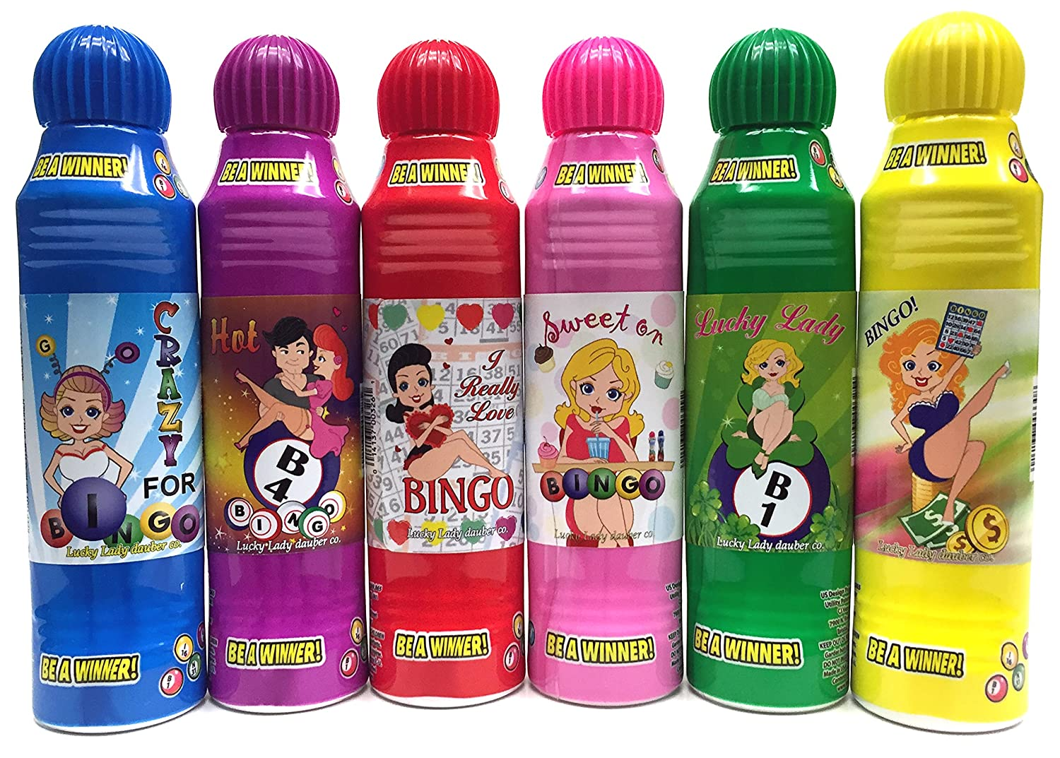 Lucky Lady Bingo Daubers 6-Pack Mixed Colors! Dab-O-Ink