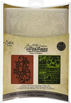 Amazon Com Sizzix Texture Fades Embossing Folders 2pk Merry Christmas Vintage Holiday Set By Tim Holtz
