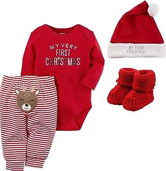 Just One You Carter/'s Christmas Outfit Pajamas Girl size NEWBORN Santa Nice Bibs
