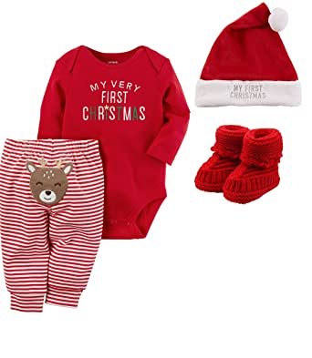 a5cab8462 Carter's Baby My First Christmas 4 Piece Pant, Bodysuit, Hat and Bib Set (