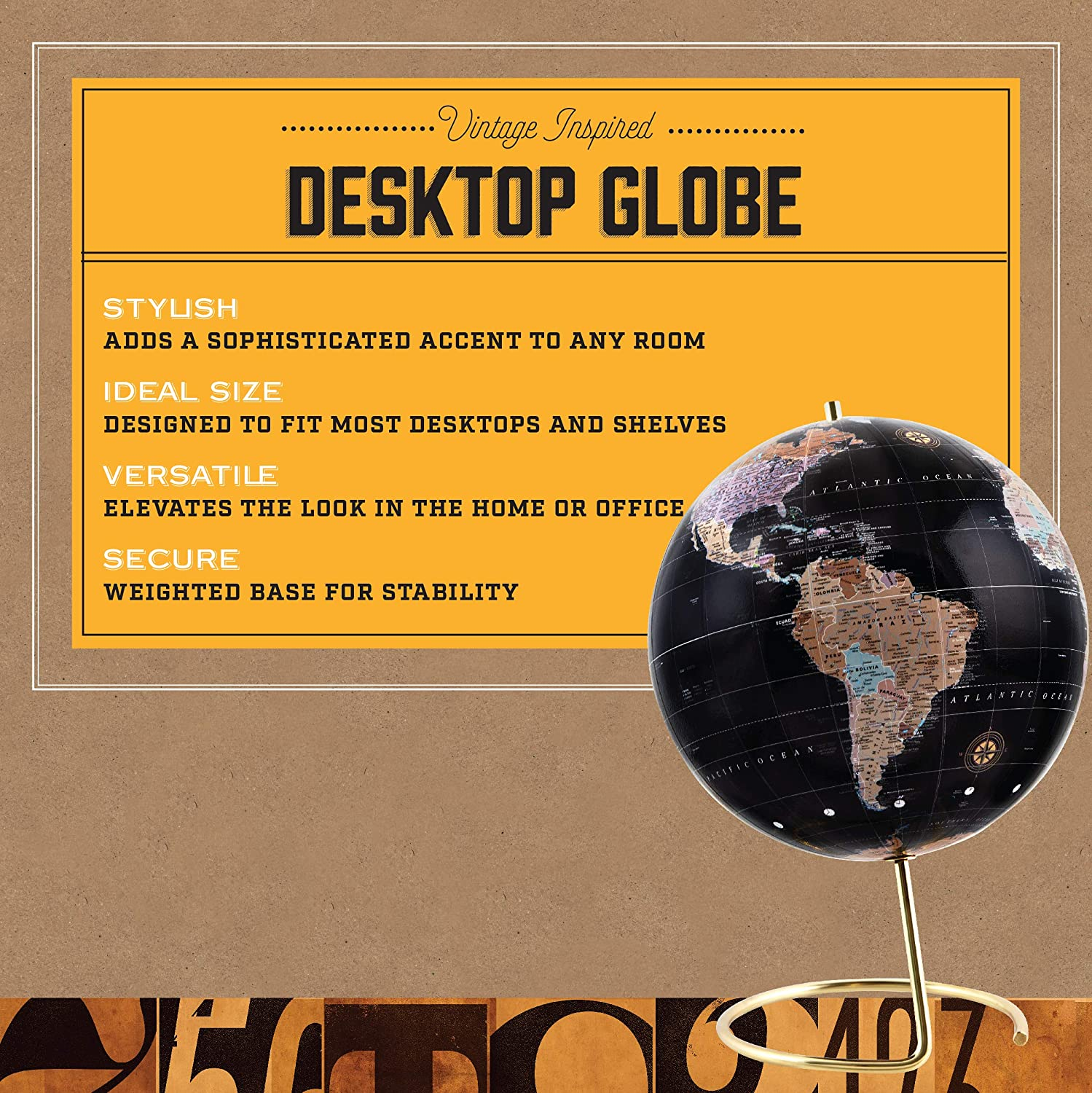 Best Wanderlust Gift for Traveler or Jetsetter Vintage-Style Tabletop Home or Office D/écor Desktop Globe Refinery /& Co Contemporary Decorative Spinning World with Gold Polished Brass Base