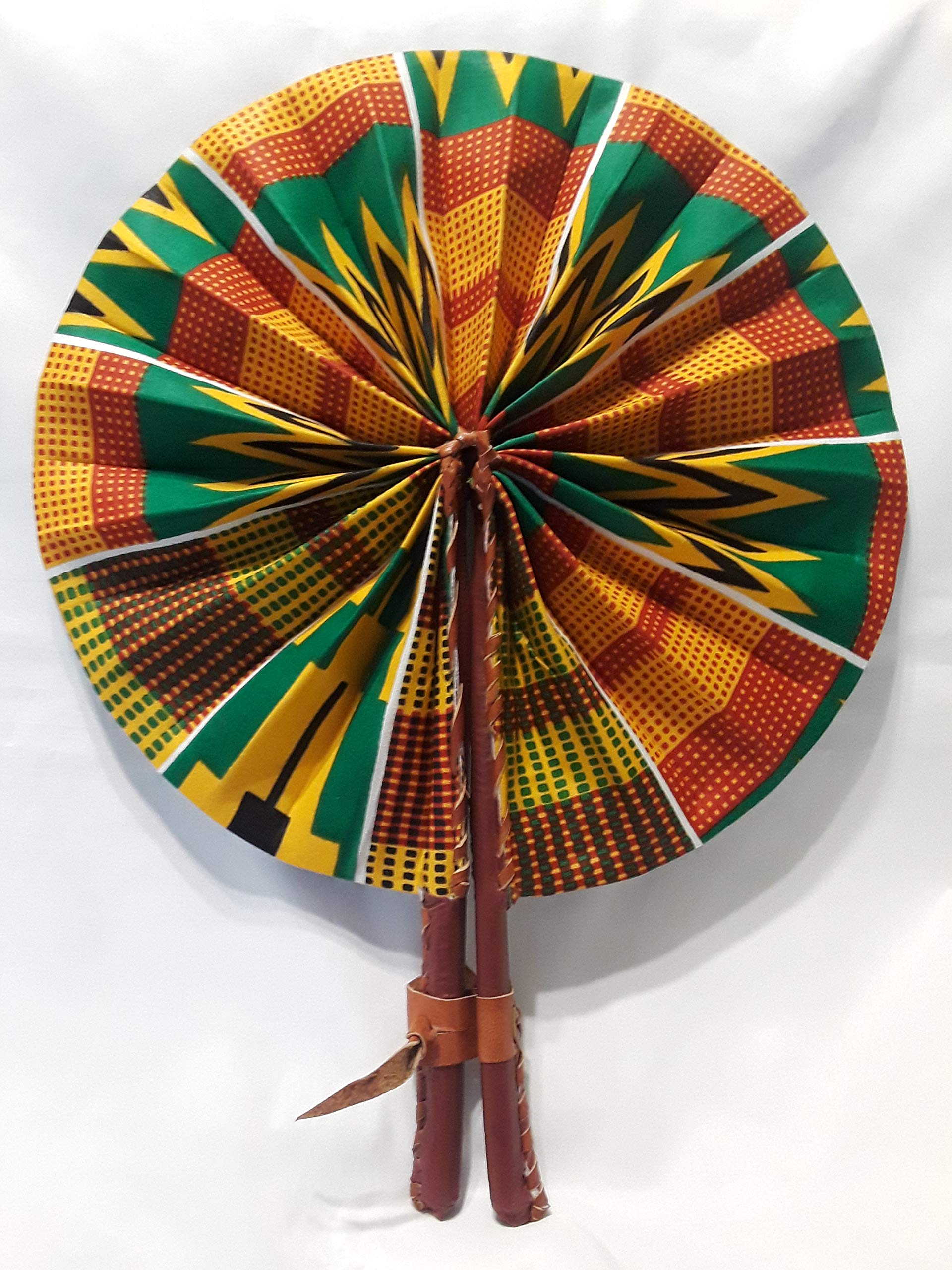 African TV African Fabric Handmade Folding Fan, African Hand-held Folding Fan by African TV Network